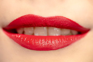 Luxurious bright beautiful female lips made up with lipstick and tint, various shades, matte red, make-up, for design, set, mock-up.