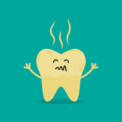 Unhealthy Tooth. cartoon rotten tooth character.
