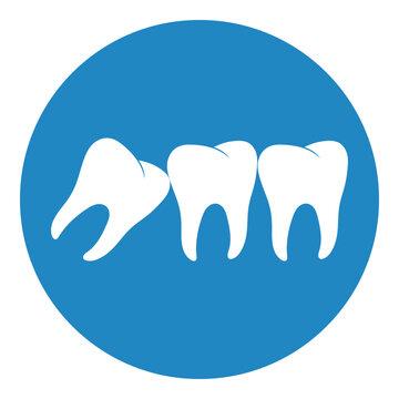 Wisdom tooth icon or third molar