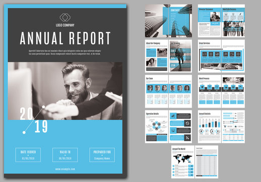 Annual Report Layout with Blue Accents