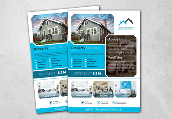 Real Estate Flyer Layout with Blue Accents