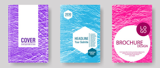 Brochure layout design templates. Teal pink purple waves texture backdrops. Business brochure vector cover layouts set. Covers with headline sample text. Fluid buzzing wavy noise ripple texture.