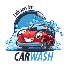 Deurstickers Cartoon cars car wash illustration