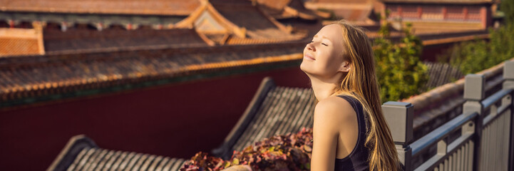 Enjoying vacation in China. Young woman in Forbidden City. Travel to China concept. Visa free transit 72 hours, 144 hours in China BANNER, LONG FORMAT