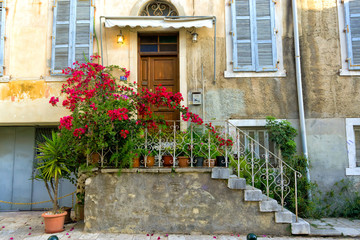Facade of house in Corfu, Greece.