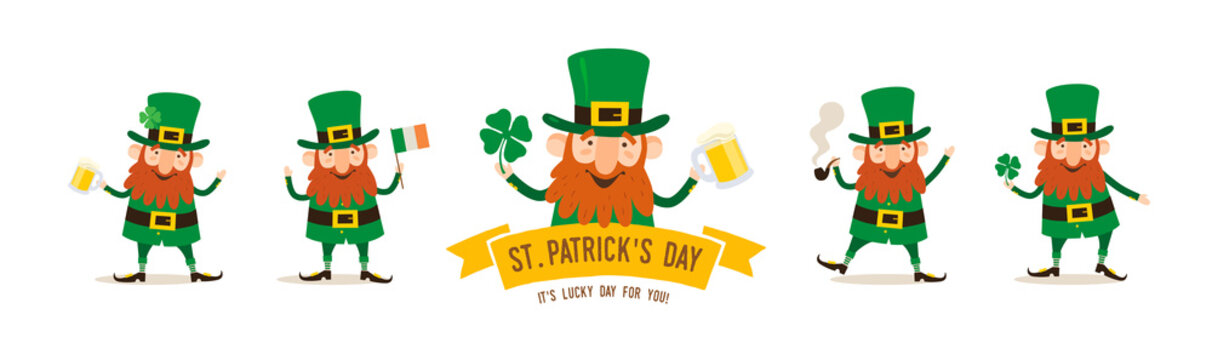 St.Patrick 's Day. A set of funny cartoon Leprechauns with attributes of the Irish holiday: a flag, a beer mug, a clover leaf, a smoking pipe on a white background. Festive vector illustration.