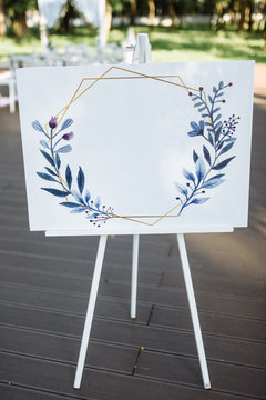Wedding seating chart on white canvas. Copy space. Space for text