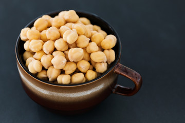 Gold beans of chick peas, closeup