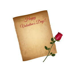 Happy Valentines Day Greeting Card. Worn Parchment