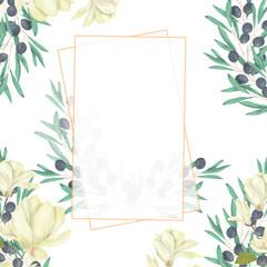 Wedding Invitation, floral invite card, olive floral and magnolia geometric golden frame print. White background.