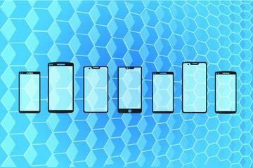Dispositivos móviles sobre fondo abstracto