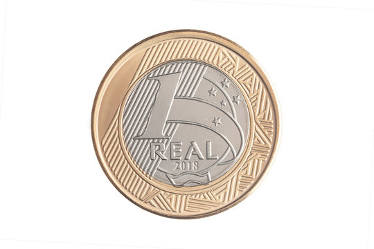 """Brazilian """"1 Real"""" 2018 coin on white background"""