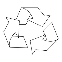 Recycle ecology symbol in black and white
