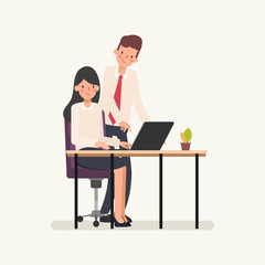 Business people colleague co working character. Animation scene businessman assign job to businesswoman. Animation scene for motion graphic.