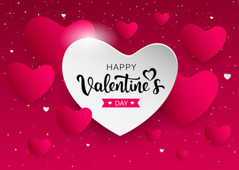 Happy Valentine's Day pink and white heart banners design background. vector illustration