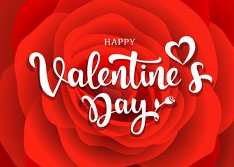Happy Valentine's Day message design on red rose background, vector illustration