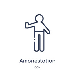 amonestation icon from sports and competition outline collection. Thin line amonestation icon isolated on white background.