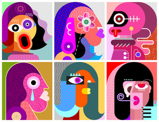 Wall Murals Abstract Art Six Faces / Six Persons vector illustration
