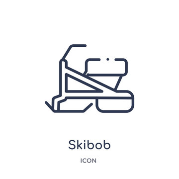 skibob icon from sports and competition outline collection. Thin line skibob icon isolated on white background.