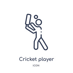 cricket player with bat icon from sports outline collection. Thin line cricket player with bat icon isolated on white background.