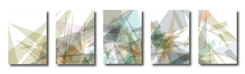 Abstract set of backgrounds with colorful chaotic triangles, polygons. Posters, covers. Vector illustration.