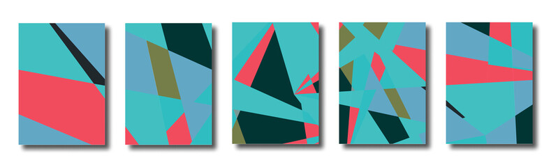 Abstract set of backgrounds with colorful chaotic triangles, polygons. Geometric posters, covers. Vector illustration.