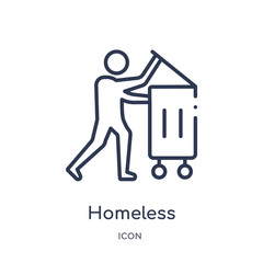 homeless icon from social outline collection. Thin line homeless icon isolated on white background.