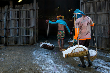 Unidentified workers carrying dry salt at salt farm production is one of famous food industry of Phetchaburi, Thailand