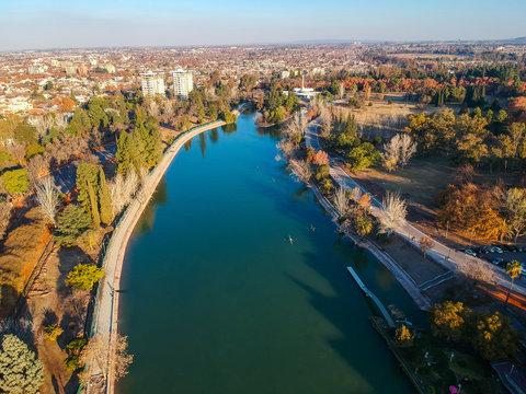 Aerial view of San Martín park in Mendoza, Argentina