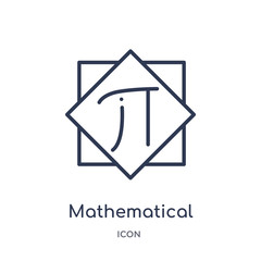 mathematical icon from signs outline collection. Thin line mathematical icon isolated on white background.