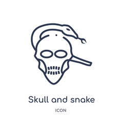 skull and snake icon from shapes outline collection. Thin line skull and snake icon isolated on white background.
