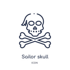 sailor skull icon from shapes outline collection. Thin line sailor skull icon isolated on white background.