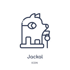 jackal icon from shapes outline collection. Thin line jackal icon isolated on white background.
