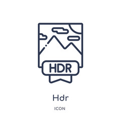 hdr icon from shapes outline collection. Thin line hdr icon isolated on white background.