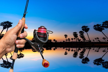Fishing rods  handle  Hold on the  background.