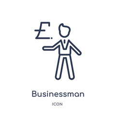 businessman with pound currency icon from people outline collection. Thin line businessman with pound currency icon isolated on white background.