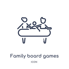 family board games icon from people outline collection. Thin line family board games icon isolated on white background.