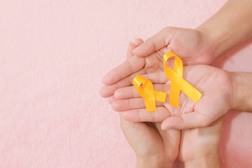 Group friend hands cancer ribbon symbol view from above with vintage style of picture.