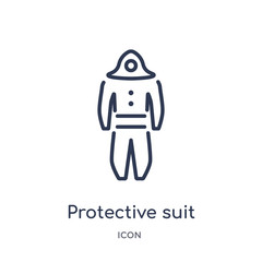 protective suit icon from people outline collection. Thin line protective suit icon isolated on white background.