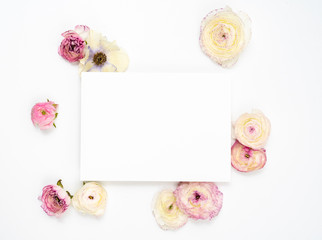 Blank Floral Ranunculus and Anemone Card Flat Lay Background