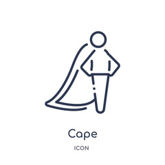 cape icon from people outline collection. Thin line cape icon isolated on white background.