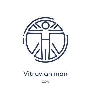 vitruvian man icon from people outline collection. Thin line vitruvian man icon isolated on white background.