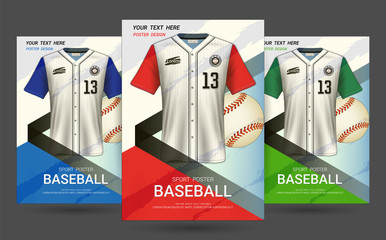 Flyer & Poster Cover design template with Baseball jersey and t-shirt sport mockup uniform, Editable graphic element in red, blue and green colors. (EPS10 vector fully editable and color change)