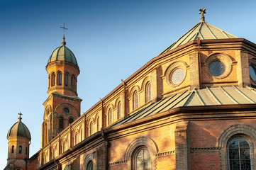 Jeondong Catholic Church, a historic site built in combination of Byzantine and Romanesque architectural styles located near Jeonju Hanok Village in city of Jeonju, South Korea