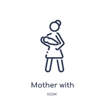 mother with baby in arms icon from people outline collection. Thin line mother with baby in arms icon isolated on white background.