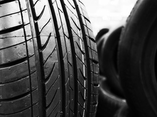 Black and white photography of tire tread tire