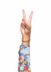 Hand gesturing peace with fingers