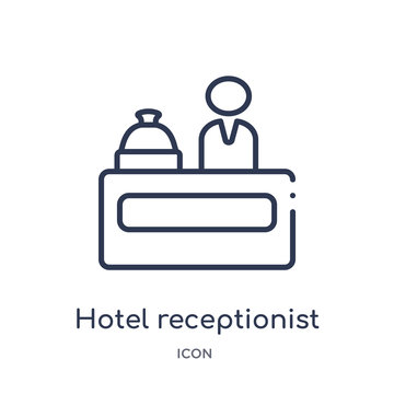 hotel receptionist icon from music outline collection. Thin line hotel receptionist icon isolated on white background.