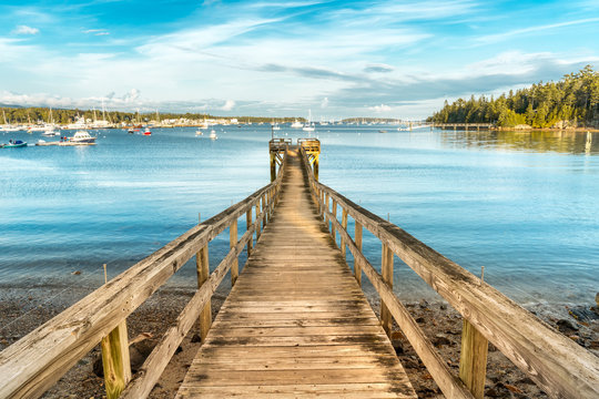 Wooden pier in Southwest Harbor Marina, Acadia National Park, Maine