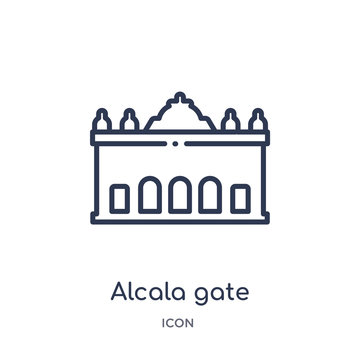 alcala gate icon from monuments outline collection. Thin line alcala gate icon isolated on white background.